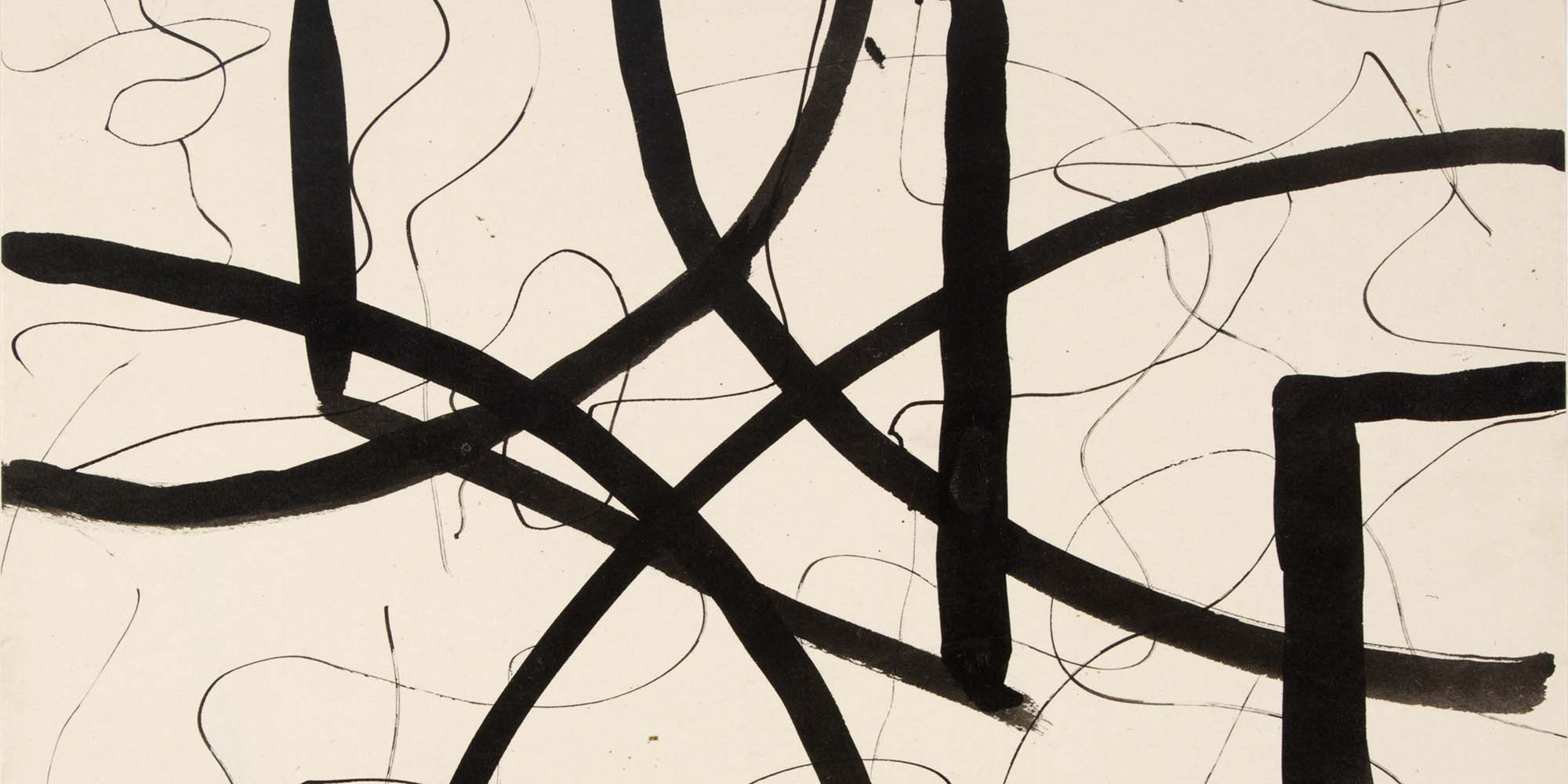 A work on a beige background of thin black swirled lines. A series of thick and bold black lines is layered on top.