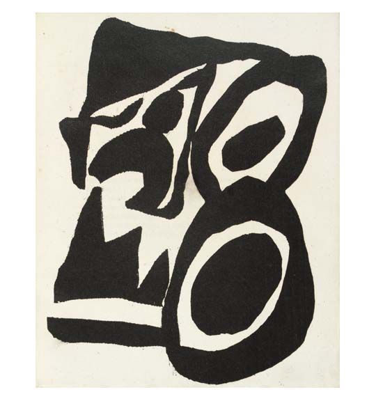 An abstract work consisting of bold black lines and shapes on beige paper.