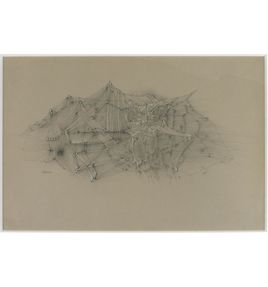 A drawing on beige paper. Straight lines create a mountain-like structure, and a figure with protruding bones appears crouching in front of it.
