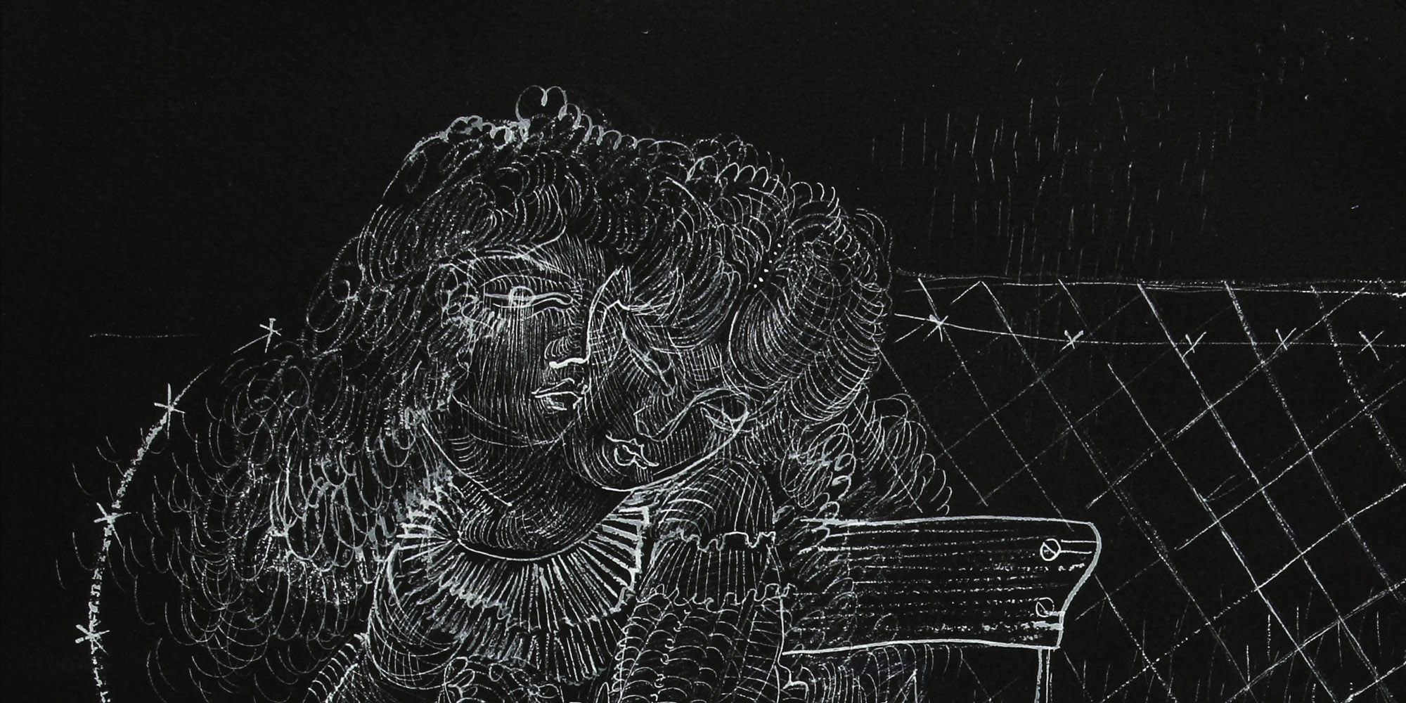 A drawing on a black background, created with a white pencil. The heads of two women are showing from the necks up, appearing as if one woman is resting her head on the other's shoulder.
