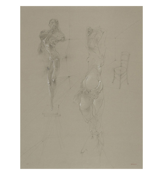 A drawing on beige paper. A thin, perhaps skeletal figure, stands on a stool. Another figure stands with its arms above its head, and a chair is pictured in the background on the right of the work.