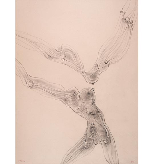A drawing of swirling lines on beige paper. A human-like figure appears, and what appears to be bones and male genitalia can be seen.