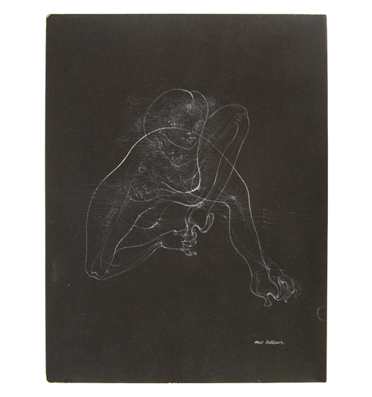 A drawing on a black background consisting of delicate wavy lines, depicting what appears to be a crouching woman.