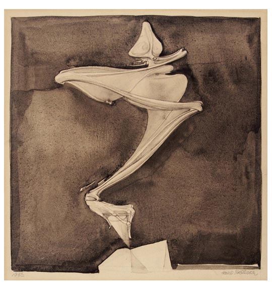 A work that shows what appears to be bone parts, positioned as if balancing on a small pedestal. The bones, perhaps an arm, have a bent wrist and fingers that are angled downward. The work has a negative space border and a dark brown background.