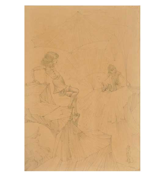 A drawing on a beige background of two female figures, one of which is sitting in the background. The second figure appears to be propping herself up on a cliff, with her arms bent at the elbows.