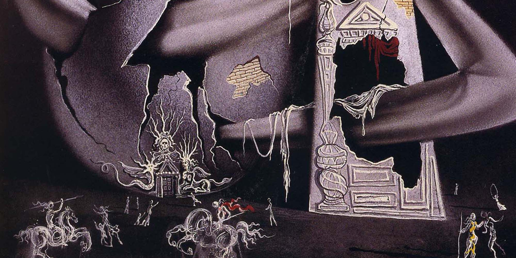 A cover of an exhibition catalog, featuring dark purple objects. A sphere with cracks appears on the left, next to a tower-like shape. A ribbon-like swirl weaves from the tower to the sphere, and small drawings of horses, cars, and people are placed mostly at the bottom of the work.