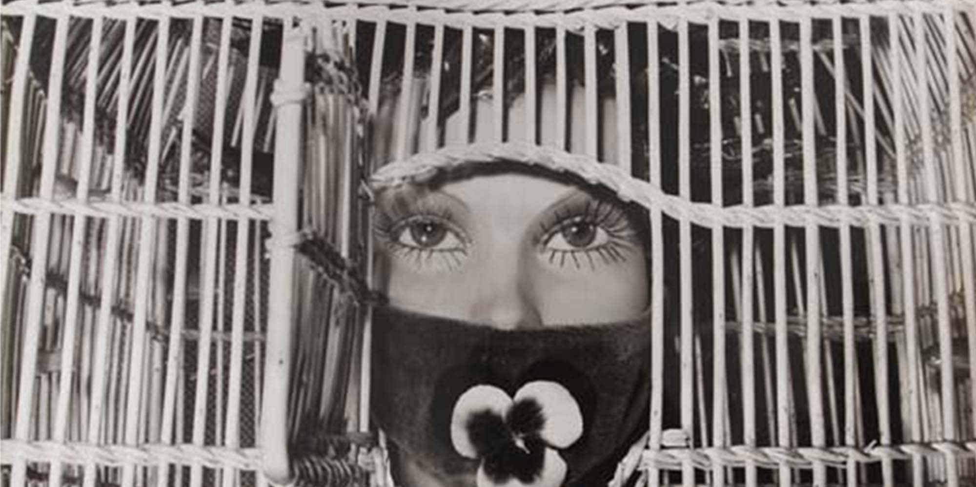 A photograph of what appears to be a mannequin's head and shoulders. A cage has been placed over the head, with the opening over the face. The mouth of the figure is covered by what appears to be fabric and a single flower.
