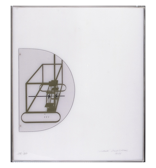 Image of the works case, which is a white box viewed from the top down. The left side shows a half circle with an image of what appears to be a watermill or wheel.