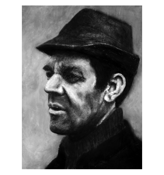Black and white colored portrait of a man in partial profile wearing a dark collared garment and hat.