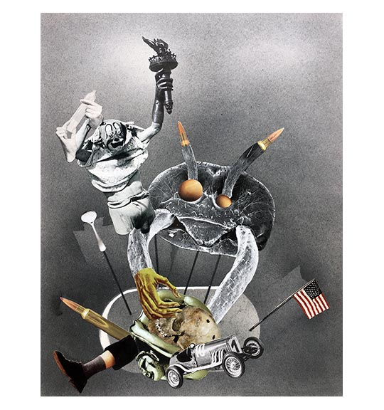 A collage of various images, including a clown-like figure holding a torch, a skull, an American flag, and a large insect, perhaps a cockroach or tick.
