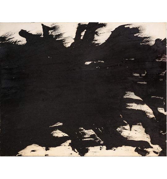 Abstract painting featuring black color on a beige background. The black color appears to branch out spread toward the edges of the work.