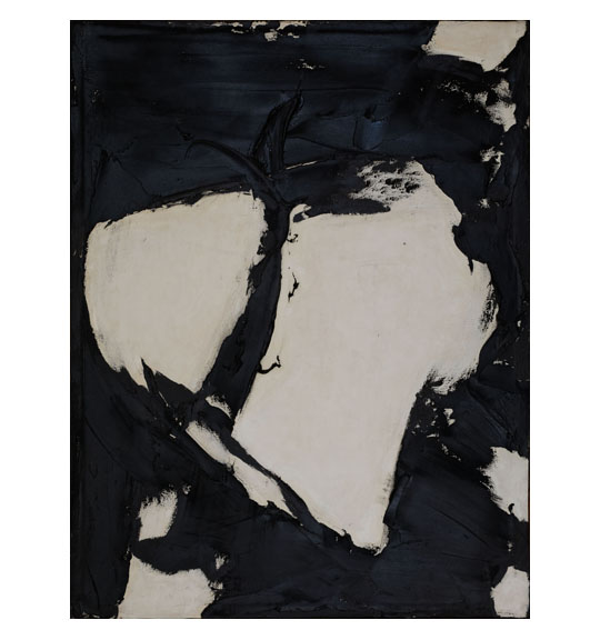 Abstract painting with texture and white blocks of color on a black background.