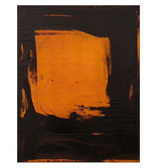 Abstract painting featuring a centered block of orange color on a black background. Stripes of color appear near the edges of the piece.