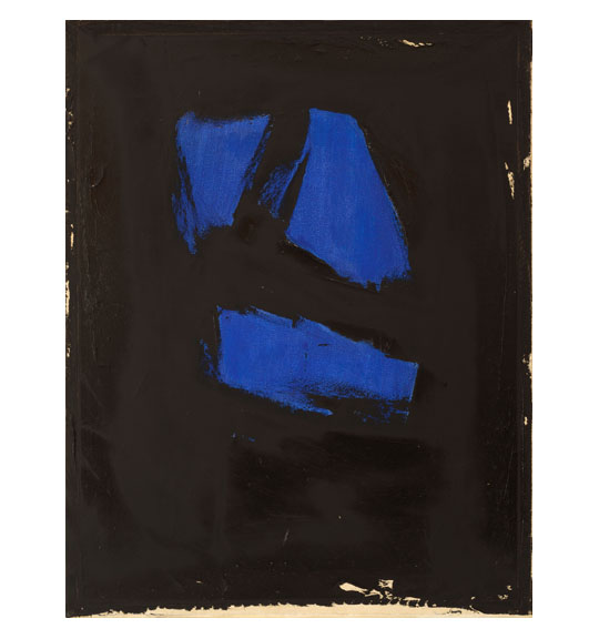 Abstract painting featuring shapes of cobalt blue clustered together on a black background. The bottom edge of the work has a strip of beige color.