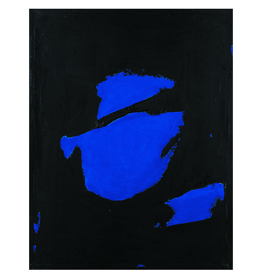 Abstract painting featuring shapes of cobalt blue clustered together on a black background.