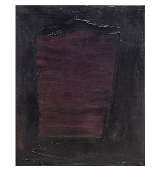 Abstract painting featuring a textured purple rectangle, showing side to side brushstrokes. The rectangle is surrounded by thicker black or darker purple paint.