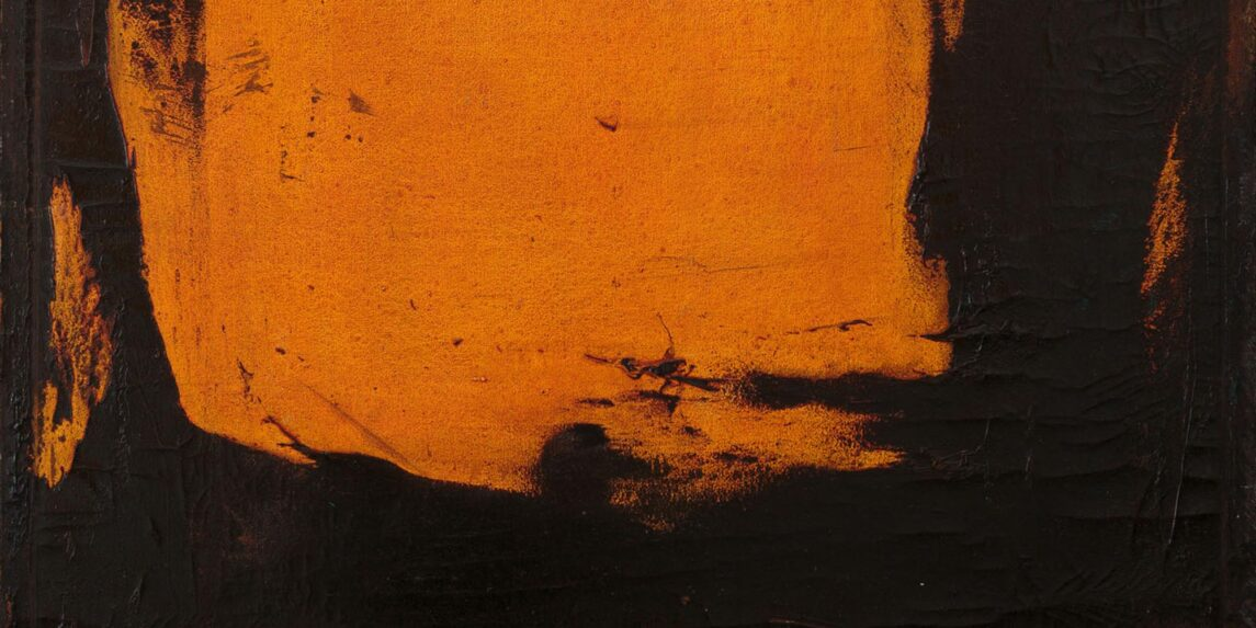 An abstract painting featuring a centered block of orange color on a black background. Stripes of color appear near the edges of the piece.