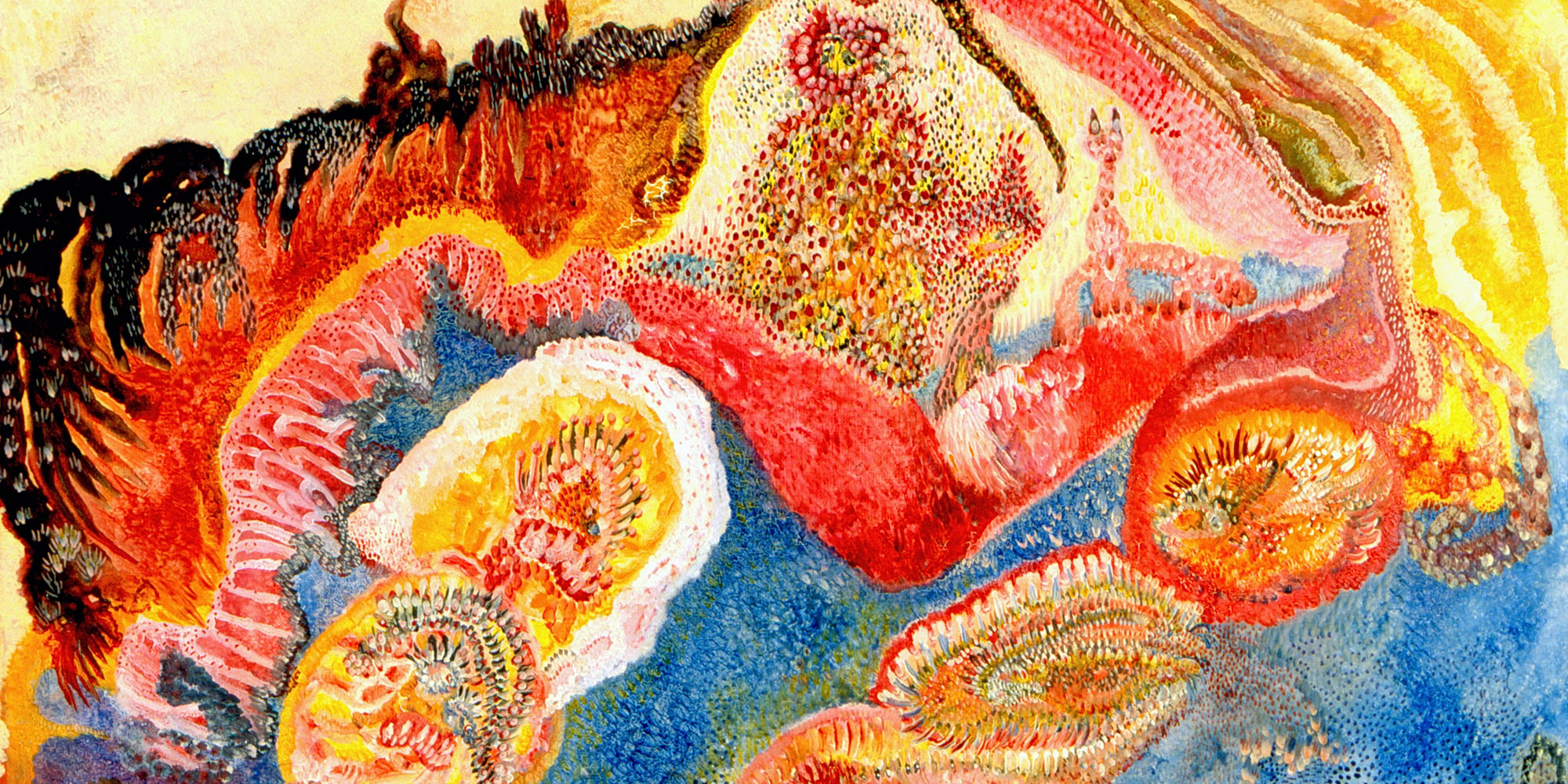 A piece with several circular shapes, appearing as flower-like figures in yellow, red, and pink. The shapes are surrounded by blue color, with a black swirl of color on the left. What appears to be a human-like figure sits in the center of the piece, as if above or on top of water.