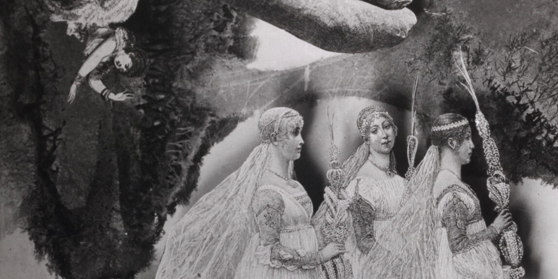 A photomontage of a trio of women in long flowing dress holding pole or staff-shaped objects. A forth woman appears in the upper left corner positioned as if falling with her arms toward the ground.