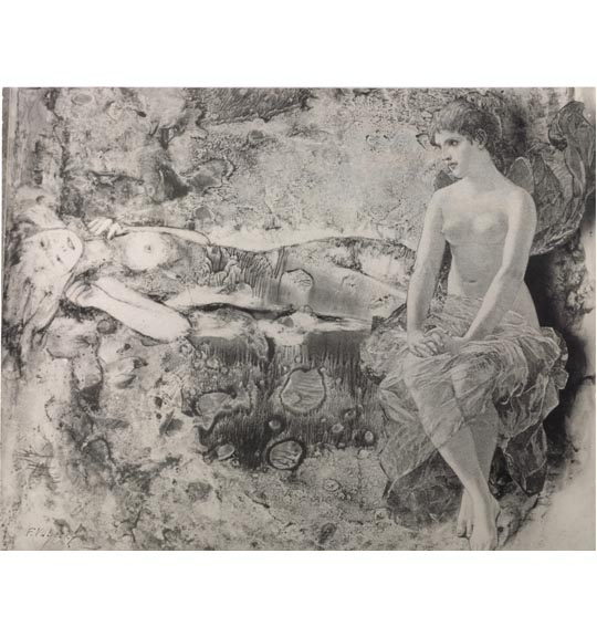 A photomontage of a nude woman sitting with her hands on her knees with sheer fabric wrapped around her waist. She glances to the left, at another figure lying horizontally on the left side of the work.