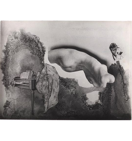 A photograph of a nude torso viewed from the back, positioned with the back facing down. A hand playing a piano or harpsichord appears on the left side, next to a piece of what appears to be fabric.