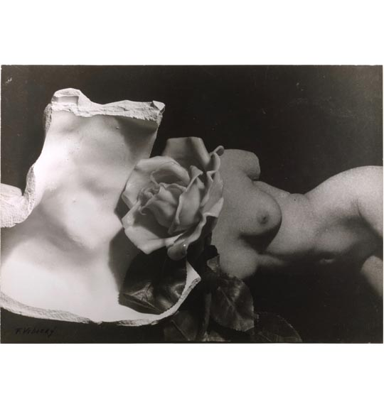 A photomontage of various images, including a nude female torso placed horizontally, a rose, and what appears to be a piece of marble or porcelain.