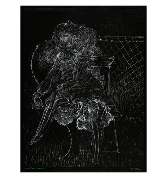 A drawing of thin, delicate white lines on a black background. The image appears to be a girl with two heads, wearing a dress and sitting in a chair. Her left arm crosses over and she rests her hand on her right knee.