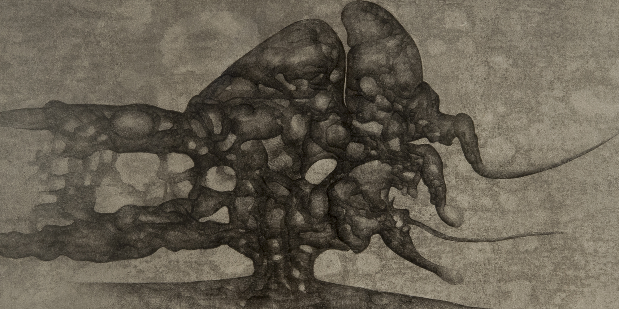 A drawing of a dark, swirling structure with holes. The structure appears as if growing out of the ground like a tree.