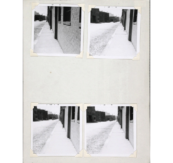 A group of photographs, arranged in 2 rows of 2 photographs each. The photographs feature slightly different view of what appears to be the same street and building.