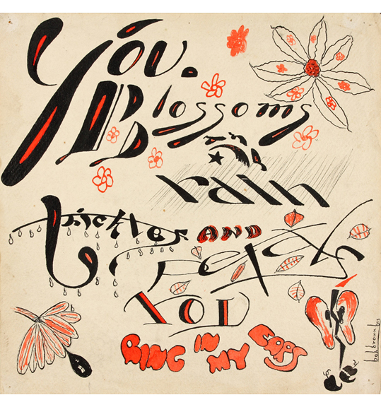 A work that shows words in different fonts, along with small drawings of what appear to be flowers. The main colors are black and red.