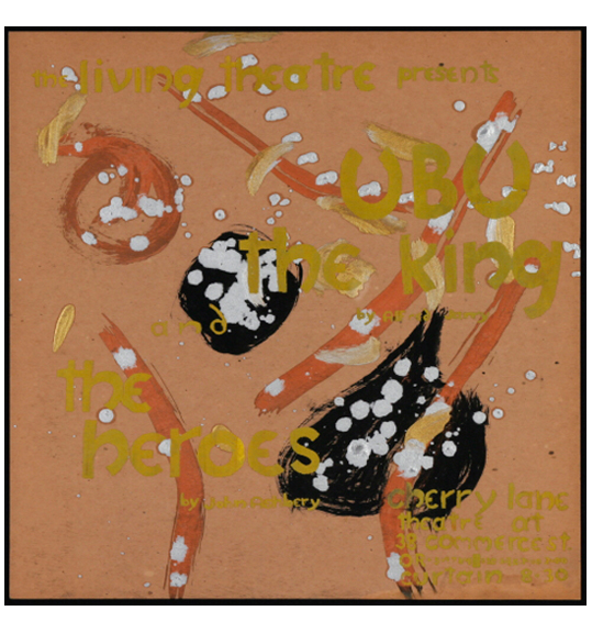 A work on a beige or dark orange background. The text is painted in gold, and the work also features splotches of white, two areas of black, and stripes of orange.