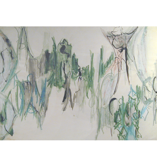 A work showing bold lines in green, smudged areas of gray, and vertical lines of blue.