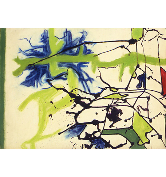 A work on a beige background showing splattered lines in black, which creates shapes that are filled in with green, red, and blue color.