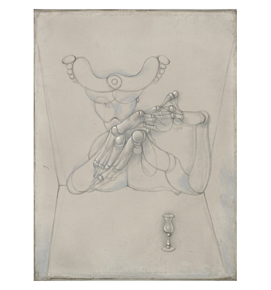 A drawing on beige paper of a human-like figure with hands and fingers touching each other. The background appears to be a room with four corners shown. A goblet stands in front of the figure on the right bottom of the work.