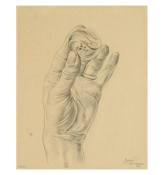 A pencil drawing on beige paper, showing a hand holding a sphere, perhaps a marble. The sphere has a swirl design and the hand wears a ring on its ring finger.