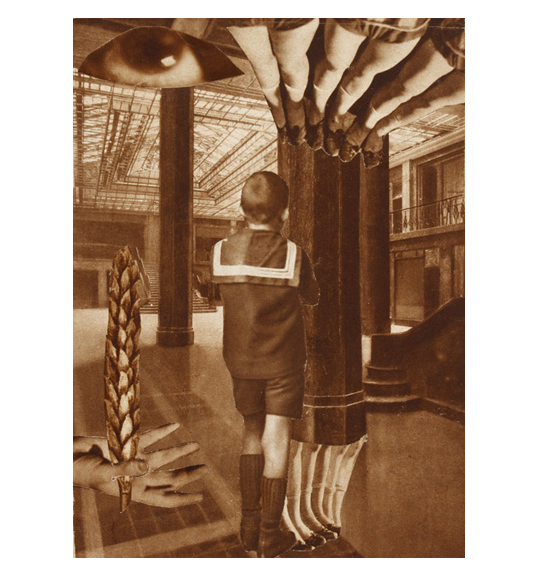 A young boy stands in an ornate room with pillars with his back to the viewers. An image of a hand appears to the left, while an eye and pairs of legs appear above.