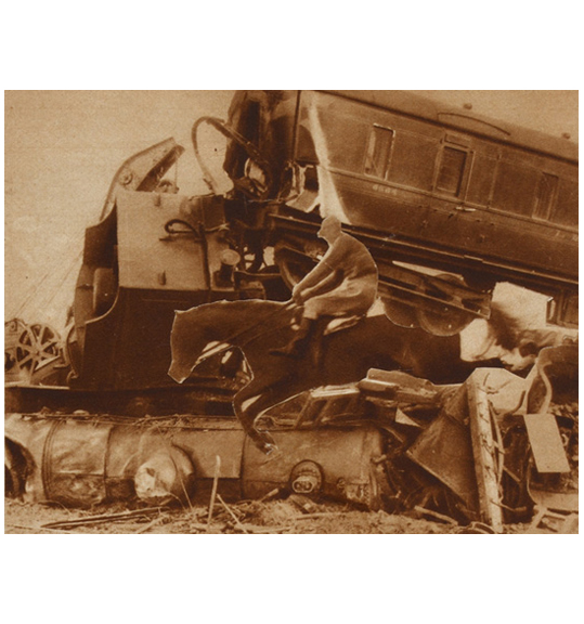 An image of a man riding a jumping horse, with what appears to be a train or locomotive in the background.
