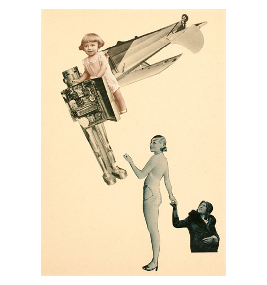 Collage of two female figures in the right corner, one in a leotard costume and the other wearing a dark hat and coat. Figures are positioned as if holding hands. Upper left of the work shows the wings and wheels of an airplane, a young girl, and what looks like a metal robotic figure. The young girl stands as if resting her arms on the robot.