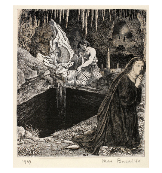 A scene in a cave where a man seems to be wrapping a mummy next to a rectangular hole or pit. A nun kneels in the bottom right corner with her hands clasped, facing right.