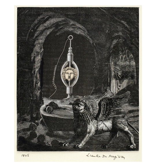 A stone bathtub-like object appears in the center of a cave, where a man is laying down. A winged lion stands to the right and partially obscures the bathtub. A lantern or a light-bulb object stands in the background under an arched passage.