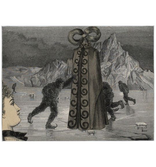 A large object that looks like a cloak stands in the center of a frozen body of water as the ice cracks underneath. Three men wearing ice skates and shaggy coats and pants circle or approach the object. A woman's face looks onto the scene from the bottom left corner.