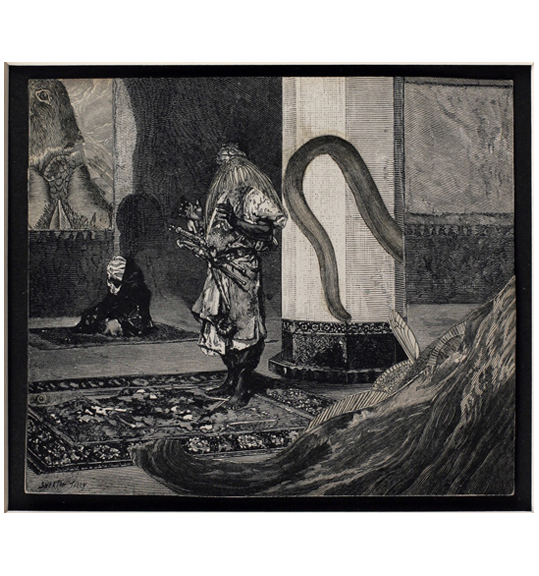 A man wearing a tunic-like garment stands on a rug in the center of a chamber, in front of a large column. A second figure sits on a rug to the left of the standing man.