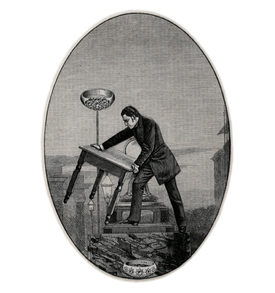 A man in a dark suit stands in profile on what appears to be a pedestal. He holds a small four-legged table as if in mid-throw. A bowl or ring appears on the bottom of the oval shaped image.