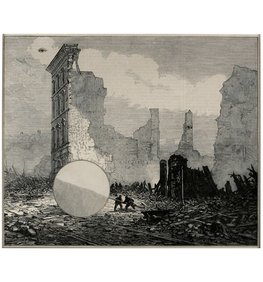 Two figures hold onto the end of what looks like a large circular signpost mounted on a pole, as if pulling it. They are surrounded by rubble and a destroyed building.
