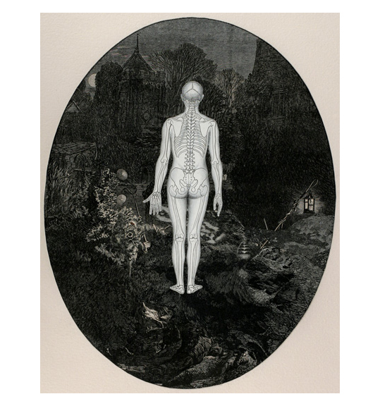 A human figure with its skeleton and bones outlined stands in the center of what appears to be a forest or garden.