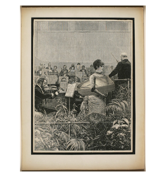 A woman in a long-sleeved dress stands holding what appears to be a large basket under her arm. An orchestra and conductor appear in the background, while foliage appears in the foreground, as if behind a fence.