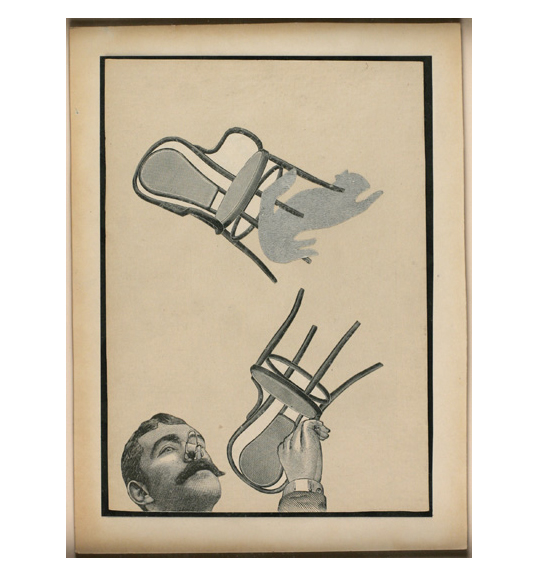 A collage on beige background of two chairs, one of right is upside down and placed at the bottom of the work. An image of a man's head and hand are placed as if emerging from the bottom edge of the work.