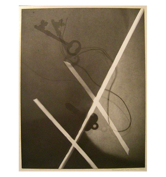 A x-ray like image of two keys, one of which is on a string. A lighter colored line bisects the work, and two other lines form a criss-cross in two places.