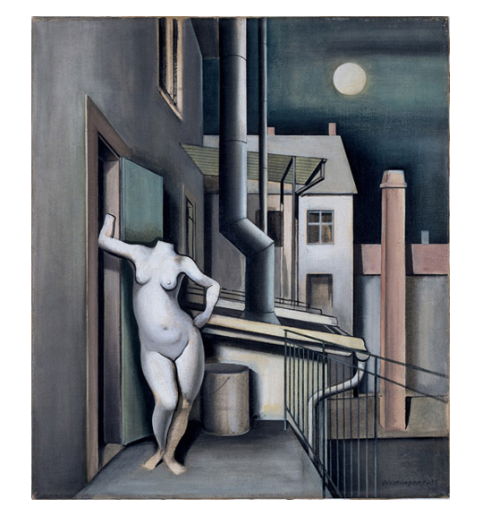 A headless nude figure stands next to an open door on a balcony. Behind the figure is a pail, a vertical pipe, and another building. A moon can be seen in a dark sky.