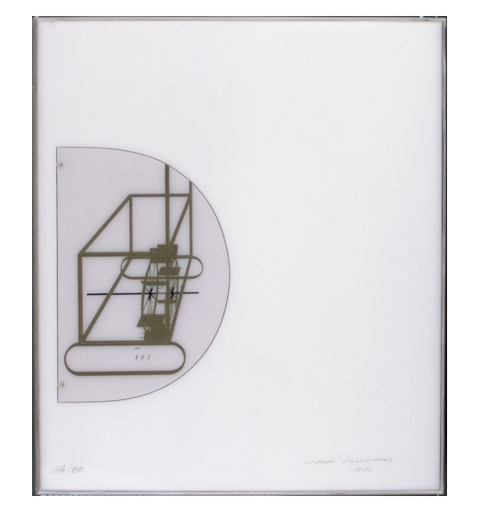 An image of a work's case, which is a white box viewed from the top down. The left side shows a half circle with an image of what appears to be a watermill or wheel.
